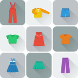 Vector flat icons of clothes for girls. Stock Photo