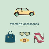 Vector flat icons design concept of fashion accessories Vector Illustration