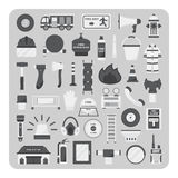 Vector of flat icons, Firefighting set Stock Images