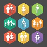 Vector flat Icons illustrating the relations Royalty Free Stock Photo