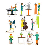 Vector flat icons set of artistic profession people Stock Photo