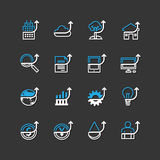 Vector flat icons set of business finance outline up concept. Royalty Free Stock Images