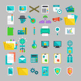 Vector flat icons set with concepts of business, office work, marketing, seo. Stock Photography
