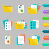 Vector flat icons set with concepts of recruitment and office work. Stock Photography