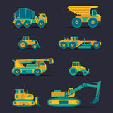 Vector flat icons set of construction vehicles. Road engineering signs. Industrial machinery symbols. Royalty Free Stock Photo
