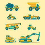 Vector flat icons set of construction vehicles. Road engineering signs. Industrial machinery symbols. Royalty Free Stock Images