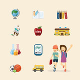 Vector flat icons set of education design colour concept. Royalty Free Stock Images