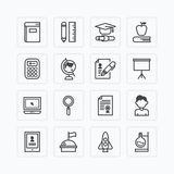 Vector flat icons set of education school tools outline concept. Royalty Free Stock Images