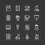Vector flat icons set of education school tools outline concept. Royalty Free Stock Photography