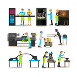 Vector flat icons set of factory production workers vector illustration