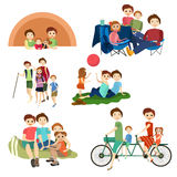 Vector flat icons set of family characters camping, hiking. Family summer outdoors vacation, weekend symbols isolated on white background Royalty Free Stock Photography