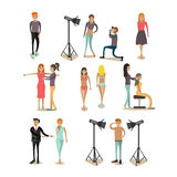 Vector flat icons set of fashion model people Stock Images