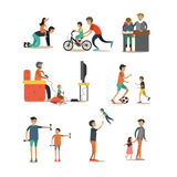 Vector flat icons set of fathers with children characters. Vector flat icons set of father with child characters isolated on white background. Fathers playing Royalty Free Stock Photo