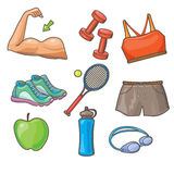 Vector Flat Icons Set of Fitness Tools and Stock Photography