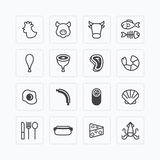 Vector flat icons set of foods outline concept. Royalty Free Stock Image