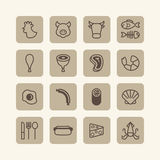 Vector flat icons set of foods outline concept. Royalty Free Stock Photos