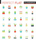Vector Flat icons set of house plants and flowers in pots. Vector Flat icons set of house plants and flowers in pots stock illustration