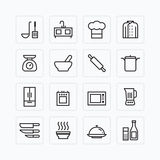 Vector flat icons set of kitchen cooking tools outline concept. Stock Images