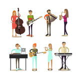 Vector flat icons set of musician characters Stock Image