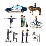 Vector flat icons set of policeman profession characters Royalty Free Stock Image