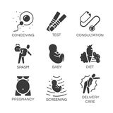 Vector flat icons set pregnancy tips for pregnant women medical Stock Images