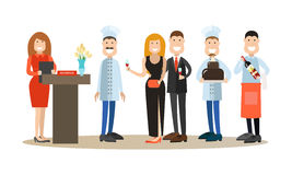 Vector flat icons set of restaurant people and guests Royalty Free Stock Photography