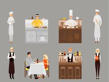 Vector flat icons set of restaurant team and visitors characters Stock Image