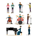 Vector flat icons set of symphony orchestra people Royalty Free Stock Photos