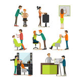 Vector flat icons set of tattoo parlor and barbershop people Stock Photos