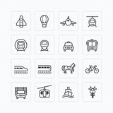 Vector flat icons set transportation outline concept. Royalty Free Stock Photo