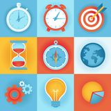 Vector flat icons - time management. And technology development Stock Illustration