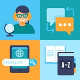 Vector flat icons - translation and language Royalty Free Stock Photography