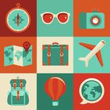 Vector flat icons - travel and vacation Royalty Free Stock Photos