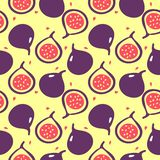 Vector flat illustartion of figs - one whole and one cut. stock illustration