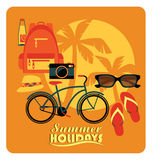 Vector flat  illustration of Active summer holidays. Stock Images
