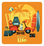 Vector flat  illustration of Active summer holidays. Royalty Free Stock Image