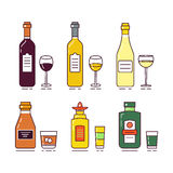 Vector flat illustration with alcoholic drinks set Stock Images