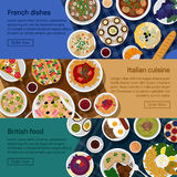 Vector flat illustration banners of british. Italian, french national dishes. Egg and bread, croissant and fried potato, haute and nouvelle, bisque and sauce Stock Images
