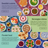Vector flat illustration banners of finnish. Norwegian, swedish national dishes. Egg and jam, meatball and sauce, smushroom and tew, lapskaus and karelian Royalty Free Stock Photography