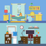 Vector flat illustration banners set abstract  rooms of apartment Stock Photography