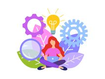 Vector flat illustration brainstorming business concept. Searching for new solutions, young woman is sitting under light bulbs in search of ideas stock illustration