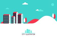 Vector flat illustration with bright houses Stock Photo