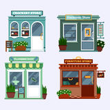 Vector flat illustration of buildings that are shops that are selling electronics notebook, tablet, smartphone and has a Stock Photos