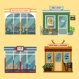Vector flat illustration of buildings that are shops that are selling  motorcycles, bikes with discount, cars Royalty Free Stock Photography