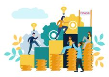 Vector flat illustration, business concept for teamwork, small people sit on the light bulbs in search of ideas, search for new. Solutions stock illustration
