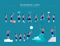 Vector flat illustration with business lady office characters & metaphors isolated on blue background. Concepts portraits for different business situations Royalty Free Stock Photography