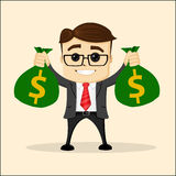 Vector flat illustration. Business or manager with bag of money. Businessman    dollars.. Vector flat illustration. Business or manager with bag of money. Happy Stock Photos
