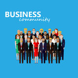 Vector flat illustration of business or politics community. A large group of well- dresses business men, business women or politicians wearing suits, ties and vector illustration