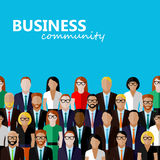 Vector flat  illustration of business or politics community. A large group of well- dresses business men, business women or politicians wearing suits, ties and Stock Photos