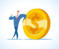 Vector flat illustration of businessman in blue suit and big golden coin standing isolate o n white background. Money cash business concept Royalty Free Stock Image